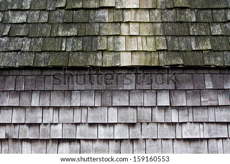 Wooden tiles on the roof of  house
