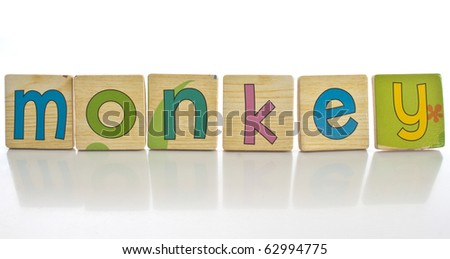 wooden tiles with the letters MONKEY