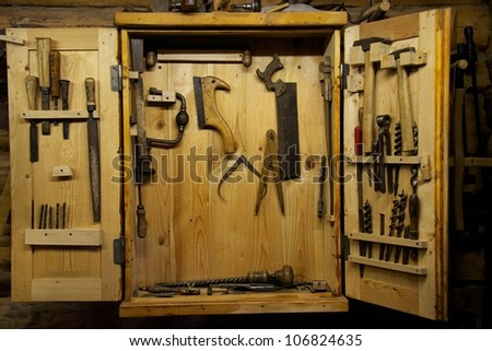 Wooden toolbox on a wall