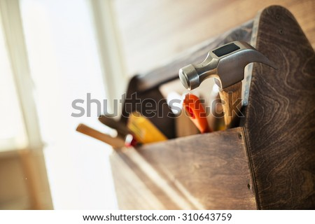 Wooden toolbox on the table