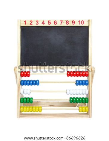 Wooden toy abacus with blank blackboard on a white background.