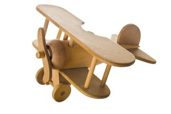 Wooden toy airplane isolated on white