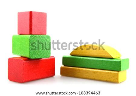 Wooden toy blocks.
