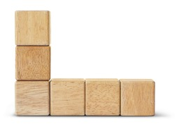 Wooden toy blocks is on white background with clipping path