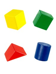 Wooden toy blocks isolated against a white background