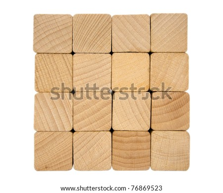 Wooden toy blocks isolated on white background. Clipping path included.