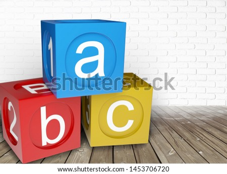 Wooden toy Blocks with the text: abc          - Image