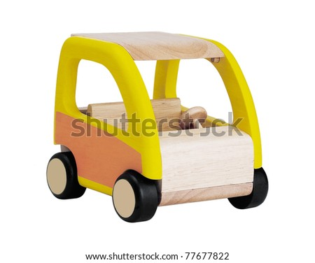 Wooden toy car for children isolated on white