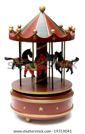 Wooden toy carousel with horses and carillon
