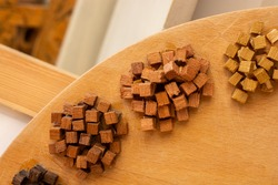 Wooden toy cubes as  educational and business concept objects