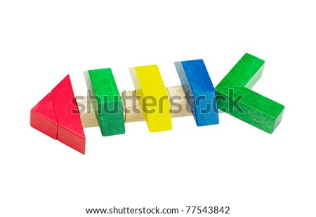 Wooden toy fish bone from kid's imagine by joining color wooden blocks