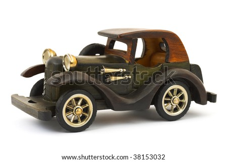 Wooden toy retro car isolated on white background