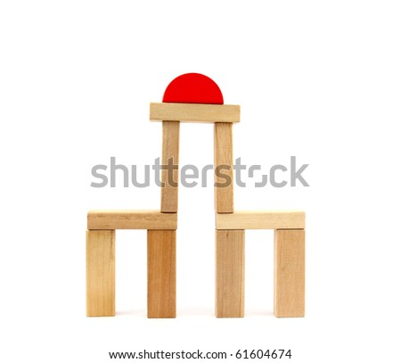 Wooden toy, tower - stock photo