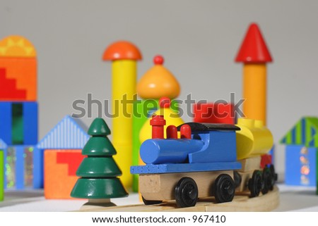 wooden toy train and blocks