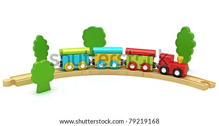 Wooden toy train isolated on a white background ,300 D.P.I