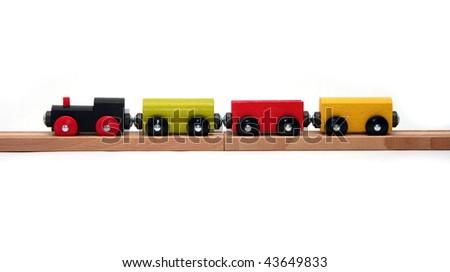 Wooden Toy Train Set on White Background