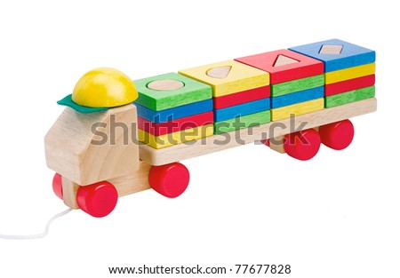 Wooden toy truck clean and safety toys the image isolated on white background