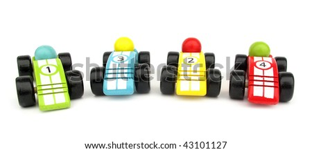 Wooden toys race cars