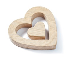 wooden toys wood hearts isolated on white background