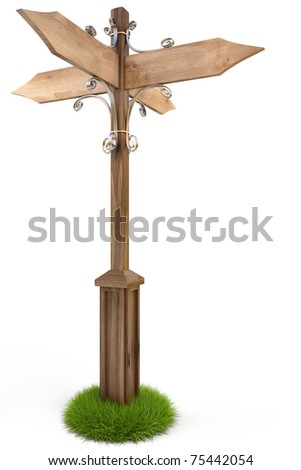 wooden track pointer in the grass. isolated on white. with clipping path.