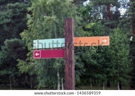 Wooden track pointer on the road in the woods or park, summer day. Empty sign pointers with a space for text.  #1436589359