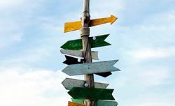 Wooden traditonal direction sign, Crossroad signpost