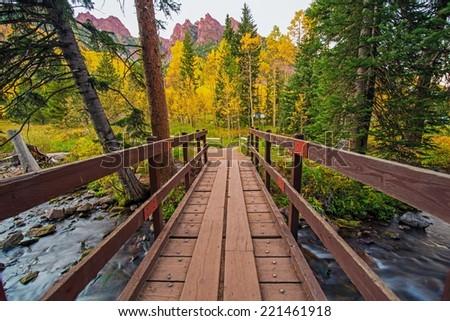 Wooden Trail Bridge in Colorado Aspen Area. Colorado, United States.