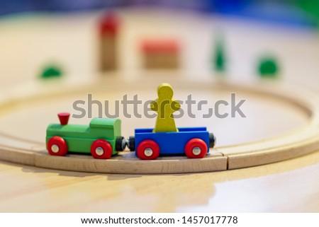 Wooden train for children. Game for children.
