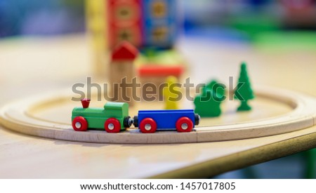 Wooden train for children. Game for children. #1457017805