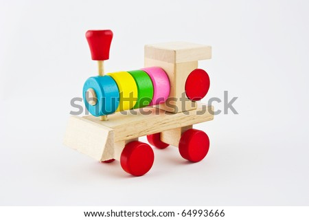 Wooden train isolated over white