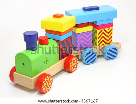 wooden train toy on white background