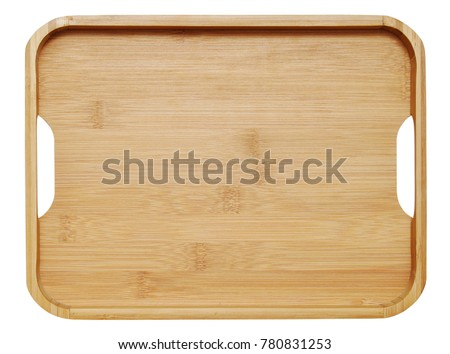 Wooden tray isolated on white background,top view. Saving clipping paths. - Shutterstock ID 780831253