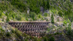 Wooden Trestle Bridge of the abandoned Kettle Valley Railway in Myra Canyon near Kelowna, British Columbia, Canada