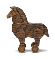Wooden Trojan Horse Isolated on White Background.