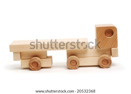 Wooden truck isolated on white background