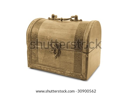 Wooden trunk isolated on the white background