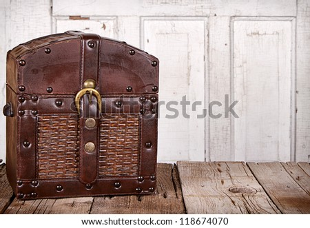 wooden trunk or chest on an...