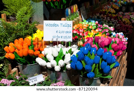 wooden tulips for sale on amsterdam market
