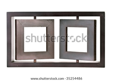 wooden twin portrait frame isolated on white