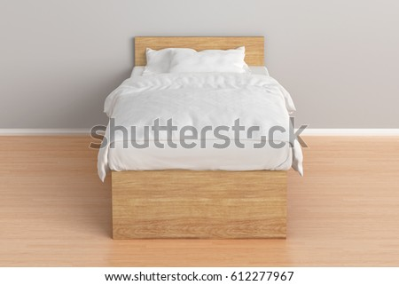 Wooden twin size single bed with white linen in interior. 3d render