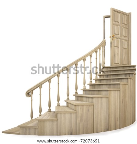 wooden twisted staircase and opened door. isolated on white. with clipping path.