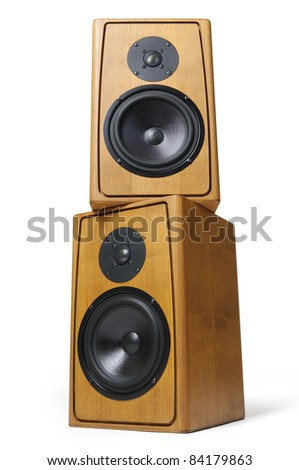 Wooden two audio speakers on white background