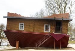 wooden upside-down house in Belarus