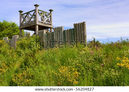 Wooden Viewpoint tower at Leaderfoot Viaduct spanning the river Tweed in the Scottish Borders.