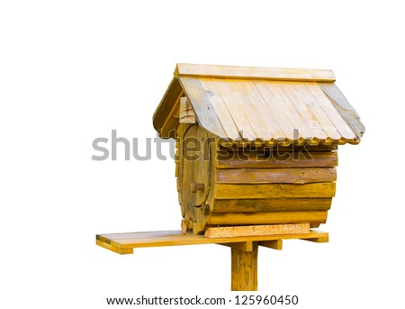Wooden vintage bird house or letter box in white background