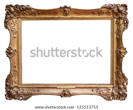 Wooden vintage frame isolated on white background #125513753