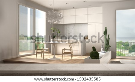 Wooden vintage table top or shelf closeup, zen mood, over contemporary minimalist white and wooden living room with kitchen, white architecture interior design, 3d illustration