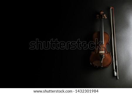 Wooden violin - violin instrument with violin bow #1432301984