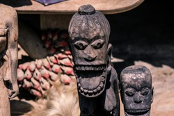 Wooden Voodoo Doll Heads on the Akodessewa Voodoo Fetish Market, Togo, Africa
