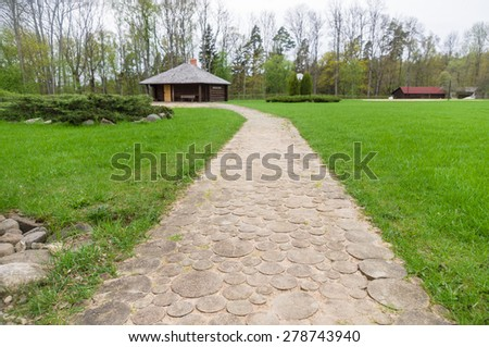 Wooden walk path closeup in recreation camping site